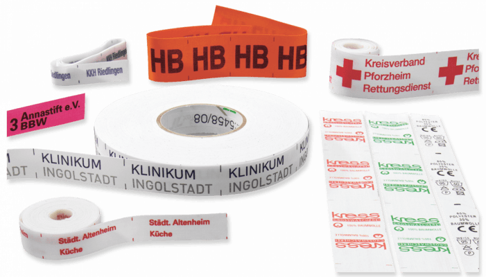 Labels on rolls, pre-printed (E)
