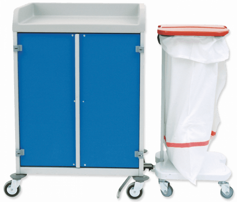 Shelf trolley with connectable laundry collector